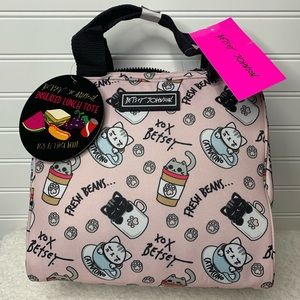Betsey Johnson cat paw coffee insulated lunch tote